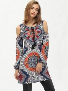 Aztec Print Tie Neck Cold Shoulder Dress