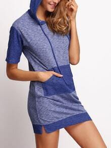 Blue Drawstring Hooded Pockets Dress