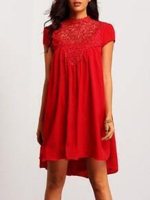 Red Cap Sleeve Cut Out Back Lace Dress