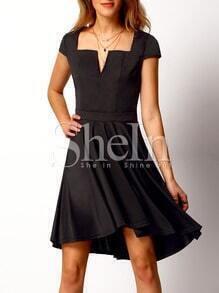 Black Square Neck Pleated Dress