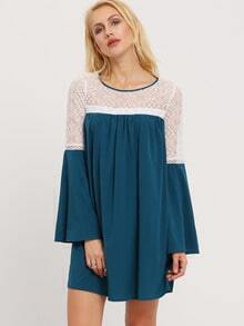 Dark Green Bell Sleeve Contrast Lace Dress
