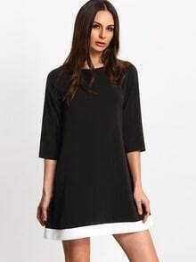 Black Contrast Hem Shift Dress