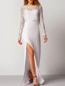 White Lace Split Maxi Dress