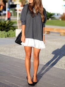 Grey Contrast Flounce Dress