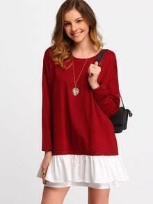 Burgundy Contrast Flounce Dress