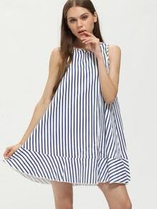 Blue Vertical Striped Sleeveless Tent Dress