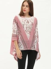 Tribal Print Crew Neck Asymmetric Blouse