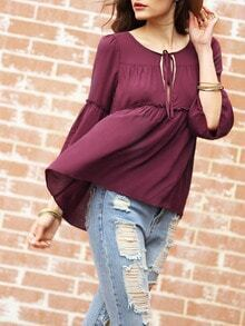 Purple Tie Neck Ruffle Blouse