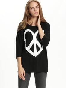 Black Heart Print Loose T-Shirt