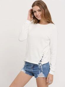 White Lace Up Side T-Shirt