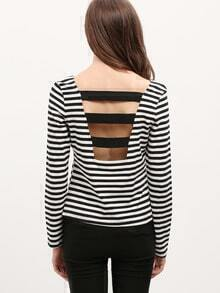 White Striped Scoop Neck T-Shirt
