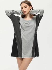 Grey Color Block Loose T-Shirt