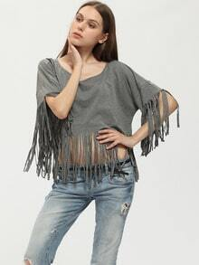 Grey Wide Neck Fringe Hem T-Shirt