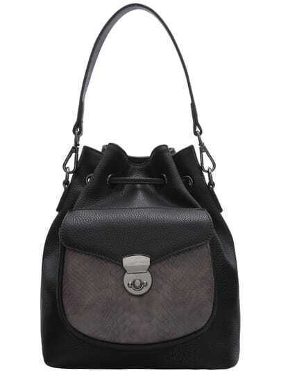 Black Snakeskin Drawstring Bucket Bag