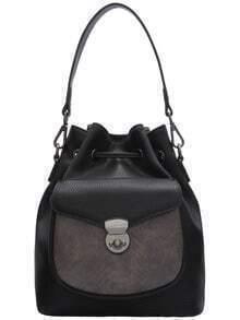 Black Snakeskin Drawstring Bucket Bag