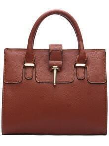 Brown Toggle PU Shoulder Bag