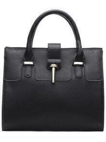 Black Toggle PU Shoulder Bag