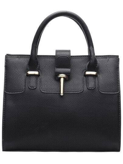Black Toggle PU Shoulder Bag
