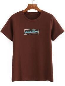 Khaki Crew Neck Letter Print T-Shirt