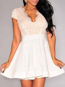 White Deep Plunge Neck Lace Insert Flare Dress