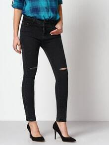 Black Ripped Denim Slim Pant