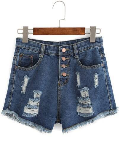 Blue Ripped Frayed Single Breasted Denim Shorts