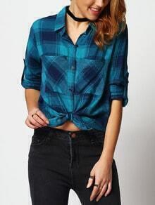 Blue Long Sleeve Plaid Pockets Blouse