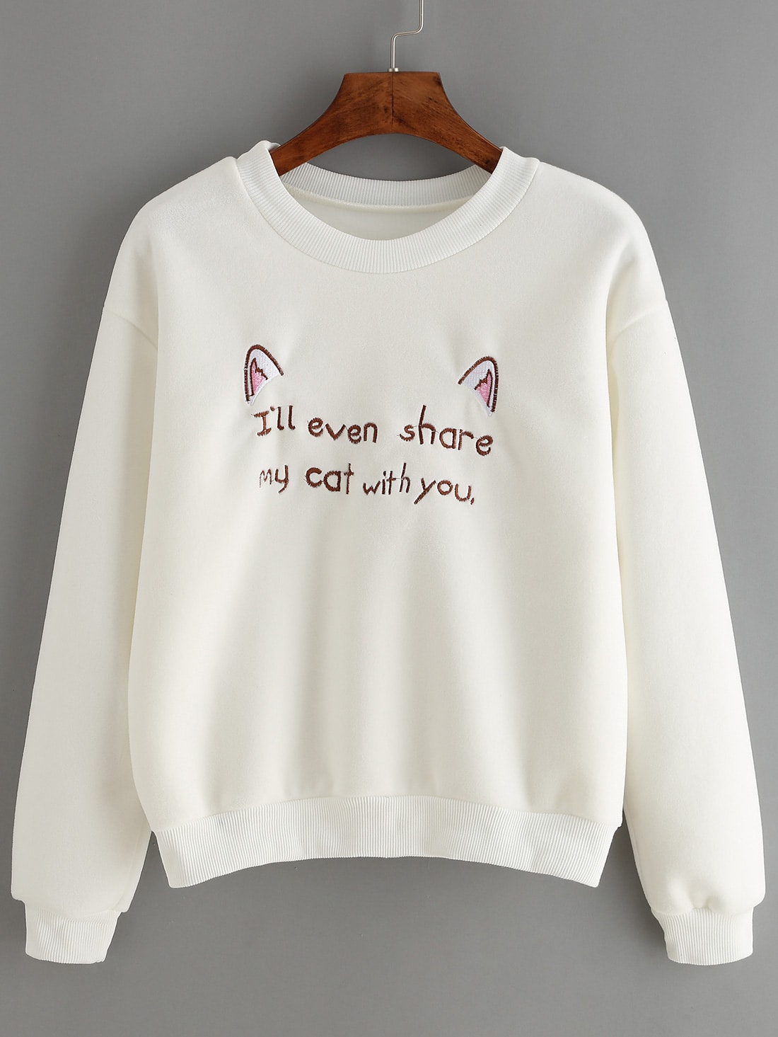 White crew neck ear letters embroidered sweatshirt shein for Letters for sweatshirts