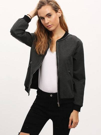 Dark Grey Zipper Elbow Diamond Jacket