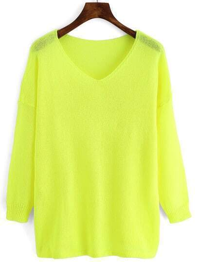 Neon Yellow V Neck Loose Knitwear
