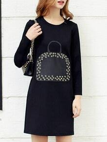 Black Round Neck Bag Print Eyelet Dress