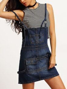 Blue Spaghetti Strap Pockets Denim Pinafore Dress