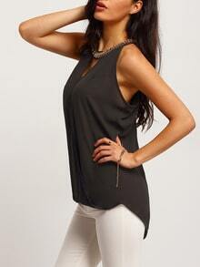 Black Chain Embellished Keyhole Tank Top