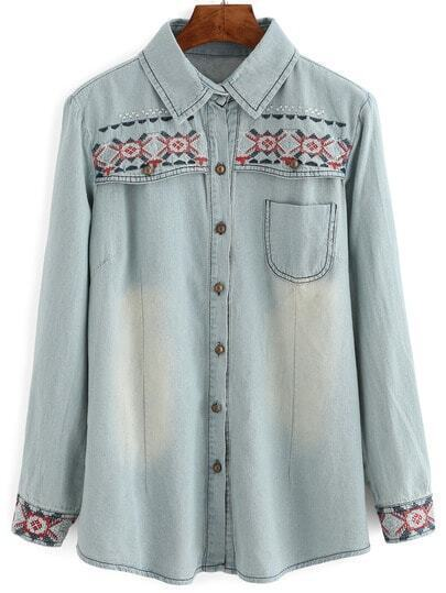 Blue Lapel Bleached Embroidered Denim Blouse