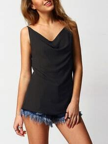 Black Criss Cross Back Chiffon Blouse