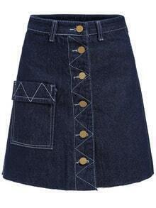 Navy Single Breasted A Line Denim Skirt
