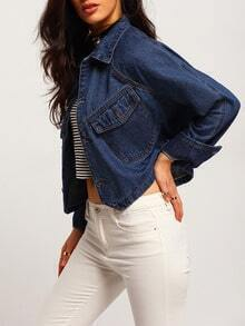 Navy Lapel Single Breasted Crop Denim Jacket