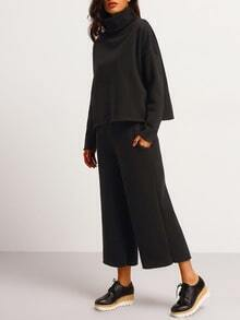 Black High Neck Loose Top With Wide Leg Pant