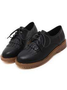 Black Round Toe Tassel Lace Up Flats