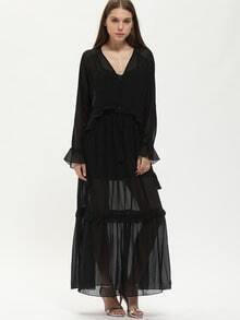 Black Ruffle Organza Maxi Dress