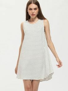 White Sleeveless Striped Tent Dress