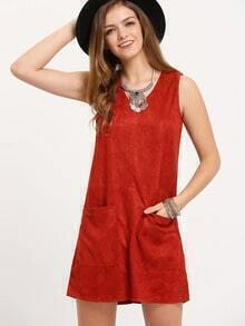 Red Sleeveless Pockets A Line Dress