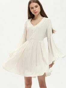 Beige Bell Sleeve Pleated Dress