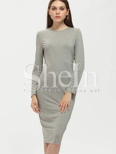 Grey Crew Neck Sheath Dress