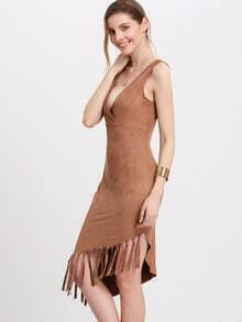 Apricot Sleeveless Asymmetric Fringe Dress