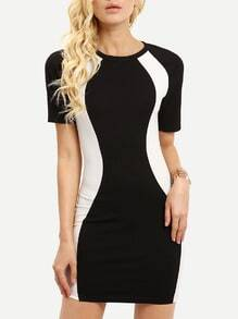 Black Color Blcok Sheath Dress