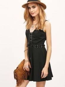Black Deep V Neck Lace Up Sexy Dress