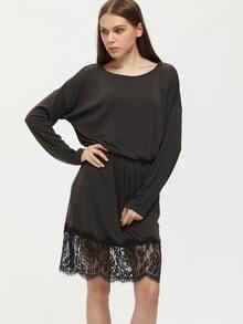 Black Off The Shoulder Lace Hem Dress