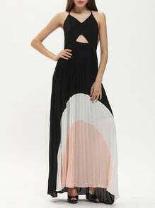 Black Color Block Halter Cut Out Front Maxi Dress