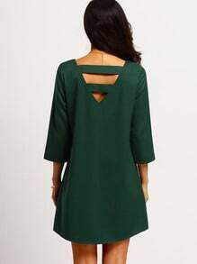 Dark Green Strappy Back Shift Dress